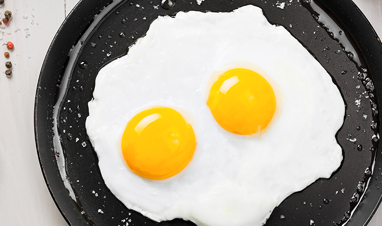 two eggs in skillet